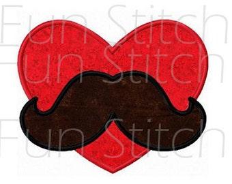 Valentine mustache applique machine embroidery design instant download