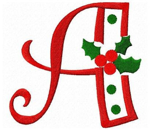 Christmas Letters.Christmas Holly Letters Font Machine Embroidery Design