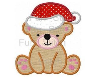 Christmas teddy bear applique machine embroidery design
