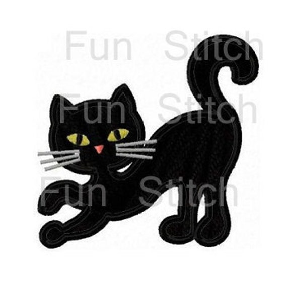 Halloween Black Cat Applique Machine Embroidery Design Etsy
