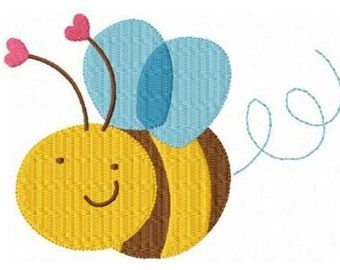 Valentine bee machine embroidery design