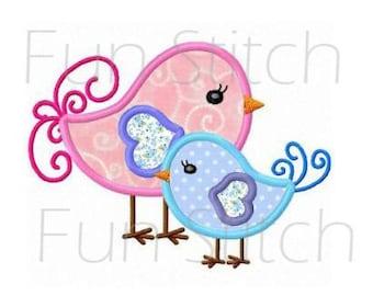 Twin birds applique machine embroidery design