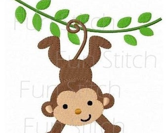monkey machine embroidery design instant download