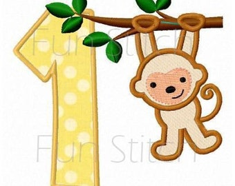 set of 9 monkey applique numbers machine embroidery design
