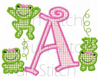 set of 26 frogs letters 9 frog numbers machine embroidery design applique font digital pattern alphabet