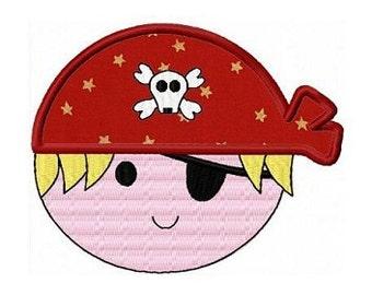 Pirate boy applique machine embroidery design