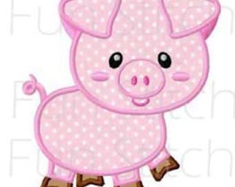 Farm pig applique machine embroidery design