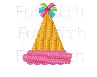 mini birthday hat machine embroidery design small size filled stitch