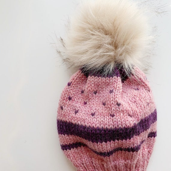 6a551d2e034 Handmade Knitted Baby Hat 100% Wool with Large Pom Pink