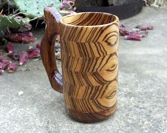 Handcrafted Wood Mug Red River Cypress Wood 32 Oz Beer Mug Etsy