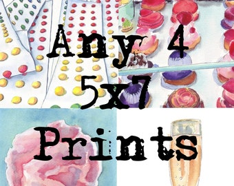 SAVE! Four 5x7s Print Set Watercolor Painting Illustration - Set of 4 5x7 Watercolor Art Prints - Wall Art for 45 Dollars