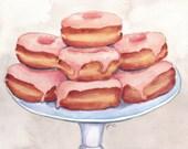 Donuts Art - 11x14 Print Pink Donut Painting - Watercolor Painting - Doughnuts Food Illustration - 11x14 Print