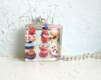 Laduree Watercolor Necklace - French Pastry Cakes Watercolor Glass Tile Necklace - Original Painting Pendant