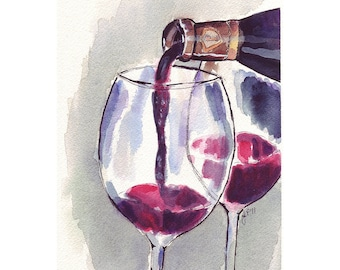 Wine Art - Red Wine Glass Pour, Watercolor Art Print, 8x10 Limited Edition Print