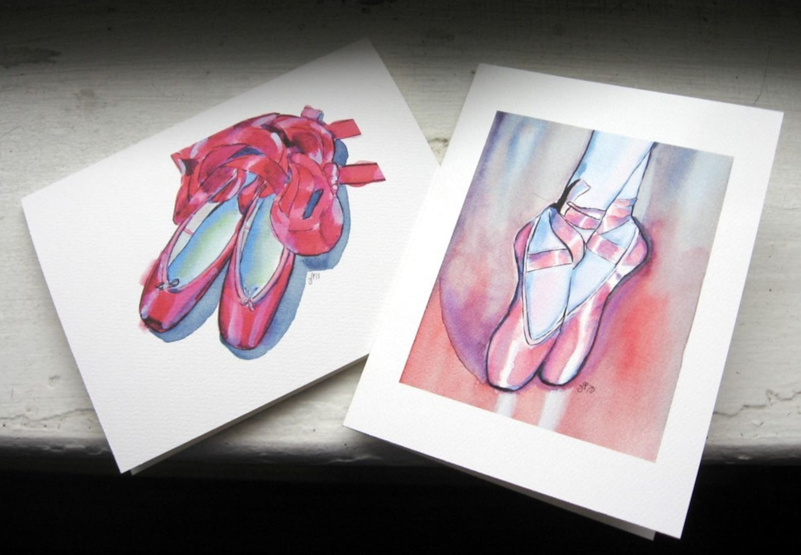 girls note card set - ballet shoes cards, watercolor art notecards, set of 8