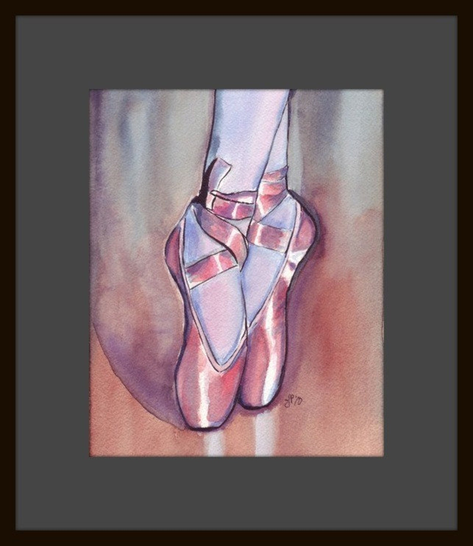 watercolor painting - pink ballet shoes watercolor art print, 8x10