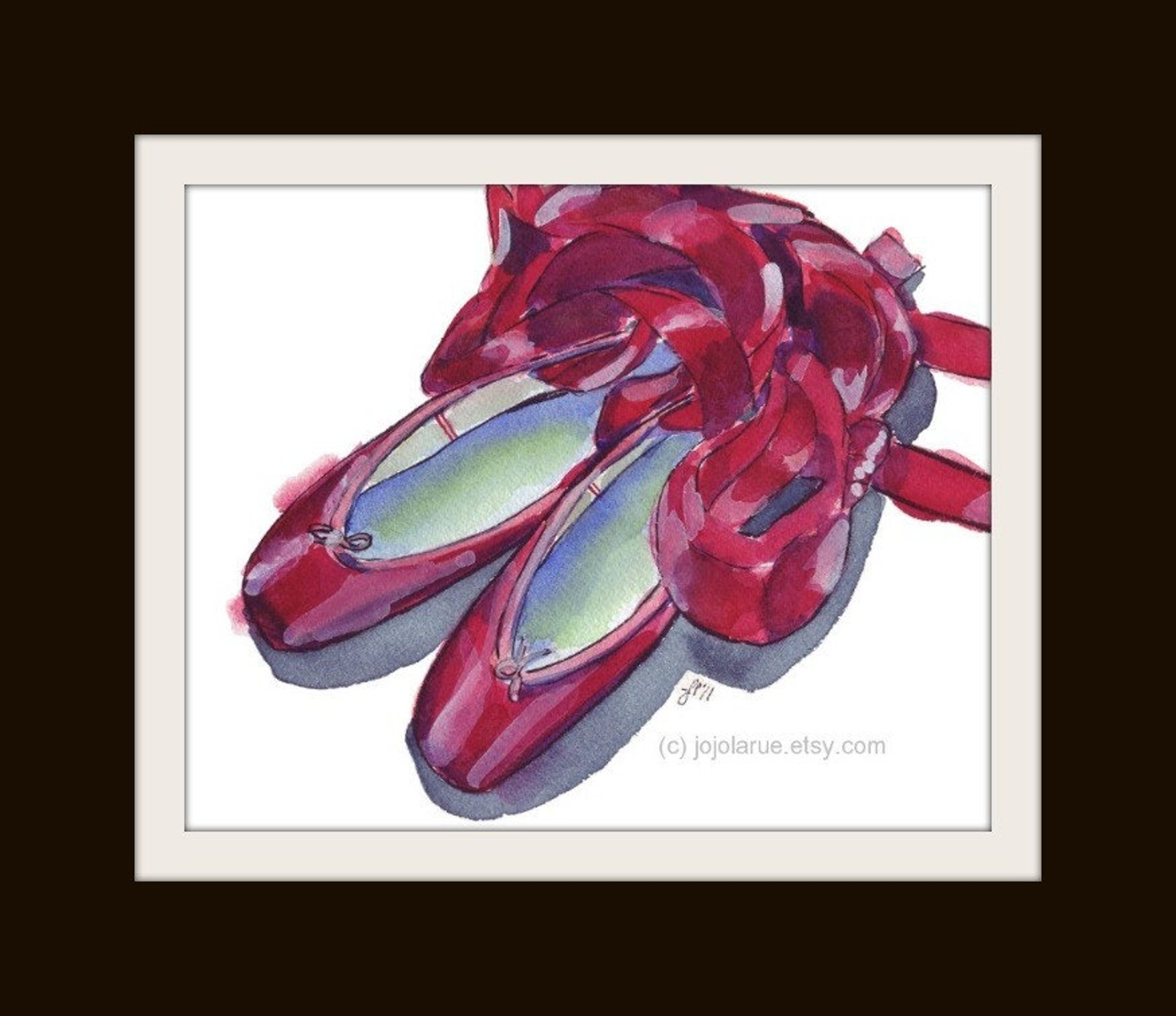 red pointe shoes watercolor painting - red ballet shoes watercolor art print, 5x7