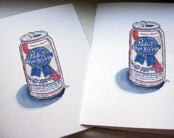 Pabst Beer Cards - PBR Beer Watercolor Art Notecards - Gifts for Guys - Groomsmen Cards - Set of 4