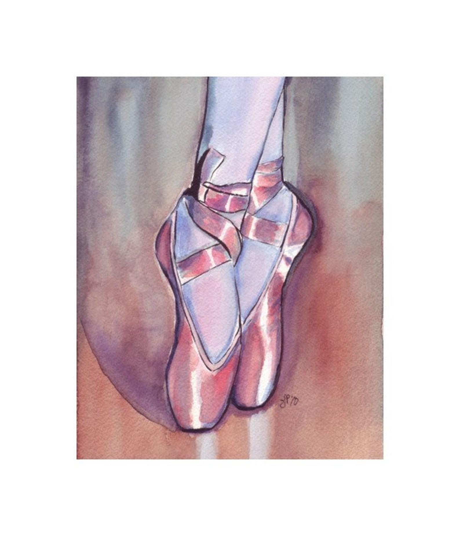 pink pointe shoes 11x14 watercolor painting - ballet art, pink ballet shoes watercolor art print, 11x14 wall art