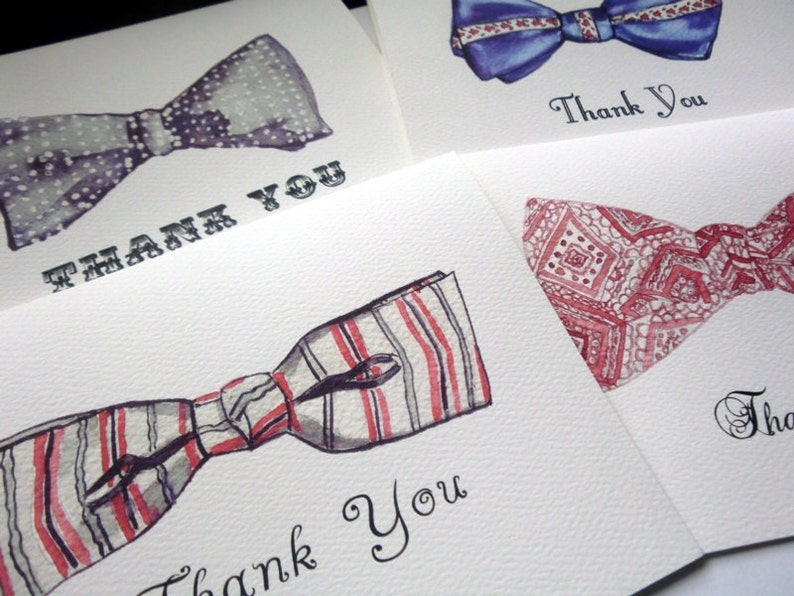 Vintage Bowtie Thank You Cards Retro Watercolor Men/'s Fashion Bow Tie Thank You Cards Set of 4
