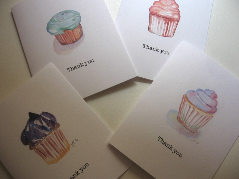 Set of 8 Thank You Notes Card Set Cupcake Art Thank You Cards