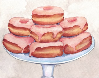 Watercolor Painting Pink Donuts on a Stand - 5x7 Print - Doughnuts Food Illustration