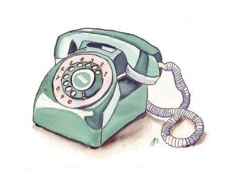 Watercolor Painting - Telephone Art, Green Vintage Rotary Telephone, Watercolor Art Print, 8x10