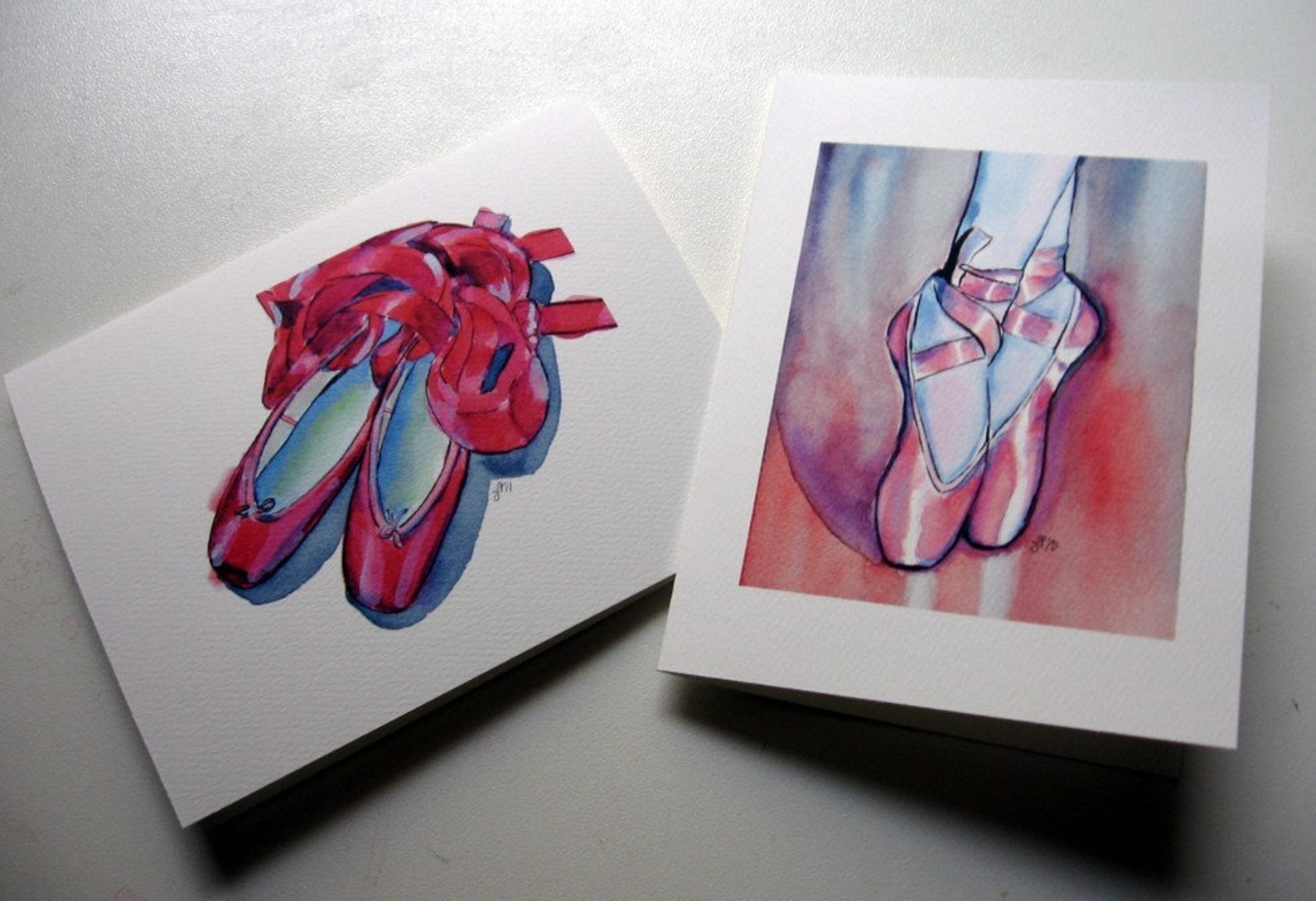 ballet shoes cards, watercolor art notecards, set of 12