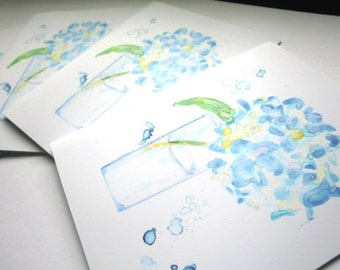 Blank Flower Cards Set - Blue Hydrangea Watercolor Art Note Cards, Set of 4
