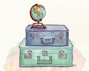 11x14 Watercolor Painting Print - Vintage Suitcases and Globe - Blue and Green Travel Wanderlust Illustration - 11x14 Print