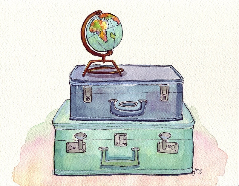Watercolor Painting Vintage Suitcases And Globe Blue And Etsy