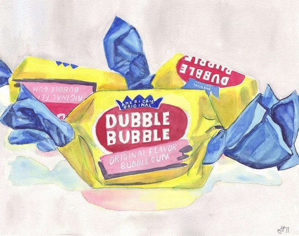 Dubble Bubble Gum Candy Painting Print Watercolor Art Print | Etsy