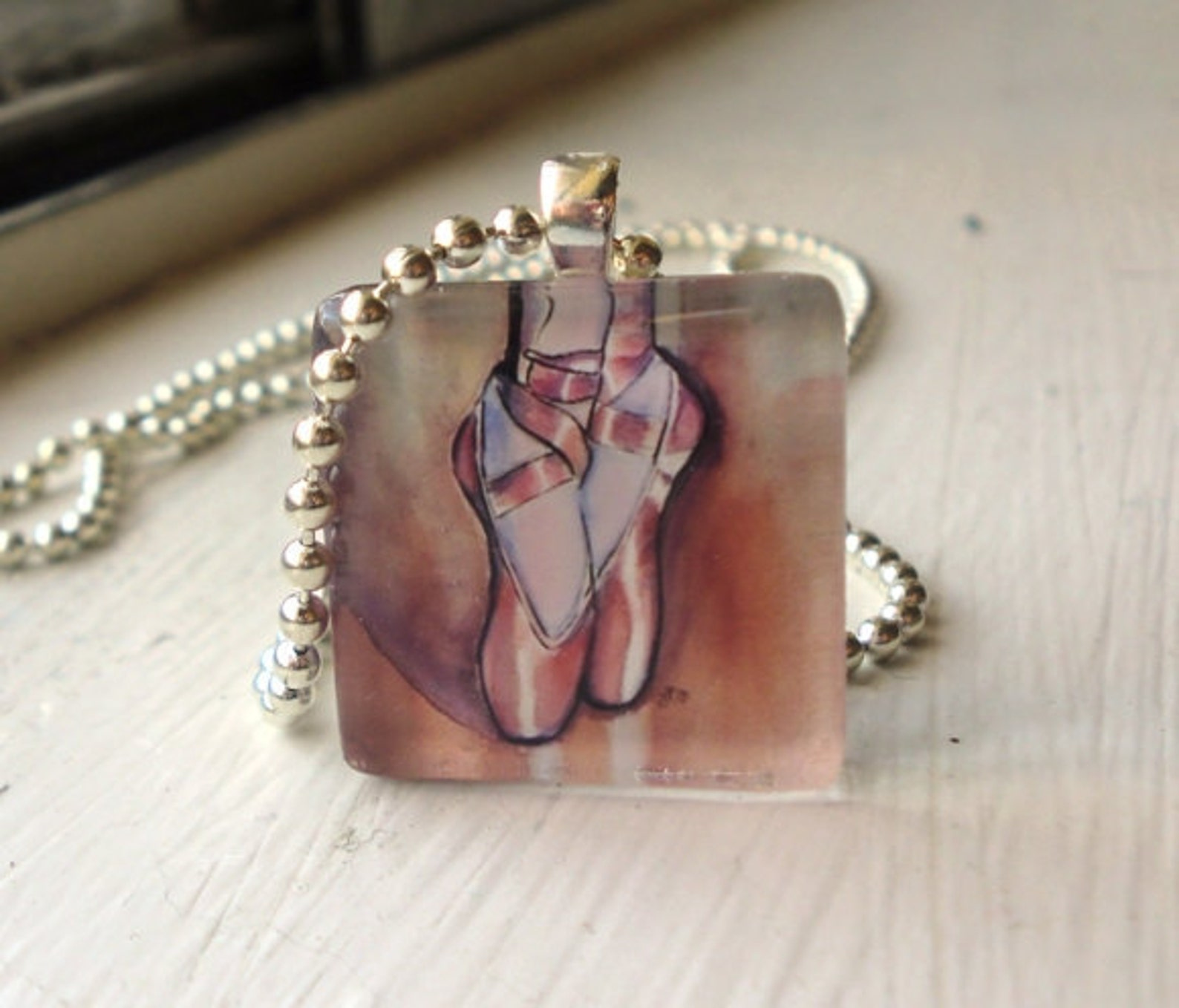 dance jewelry - pendant necklace - pink ballet shoes ballerina necklace, glass tile pendant necklace, wearable watercolor art