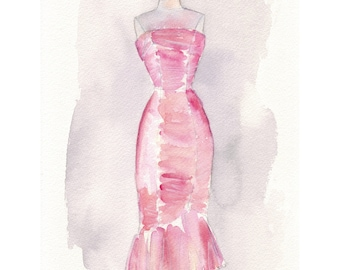 Pink Vintage Dress 5x7 Print - Fashion Illustration, Pink Vintage Dress Watercolor Painting - Classic Satin Wiggle Dress Print, 5x7