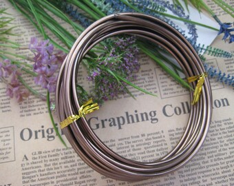Thickness 8 gauge (3mm) - 16 feet - Artistic Aluminum Craft Wire - Brown