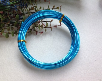 Thickness 8 gauge (3mm) - 16 feet - Artistic Aluminum Craft Wire - Marine Blue
