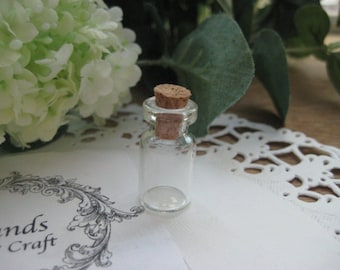 USD0.5 each Free Shipping Special Clearance - 50pcs Clear glass bottles with corks - Bottom Diameter 12mm, Empty Glass Vials, Glass Jar