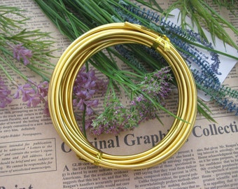Thickness 8 gauge (3mm) - 16 feet - Artistic Aluminum Craft Wire - Gold