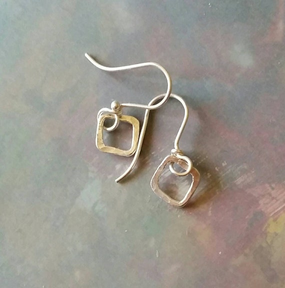 Simple Silver earrings, mini, starter earrings, square, fine silver, fused, small, everyday pierced ear wear
