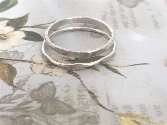 Circle ring set, Silver circle ring, two rings,  dainty ring set, open circle ring, stacking ring, gift for her, mothers day gift, dmalia