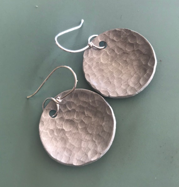 Disc Aluminum hammered circle earrings.  Aluminum textured round domed attached to handmade sterling ear wires