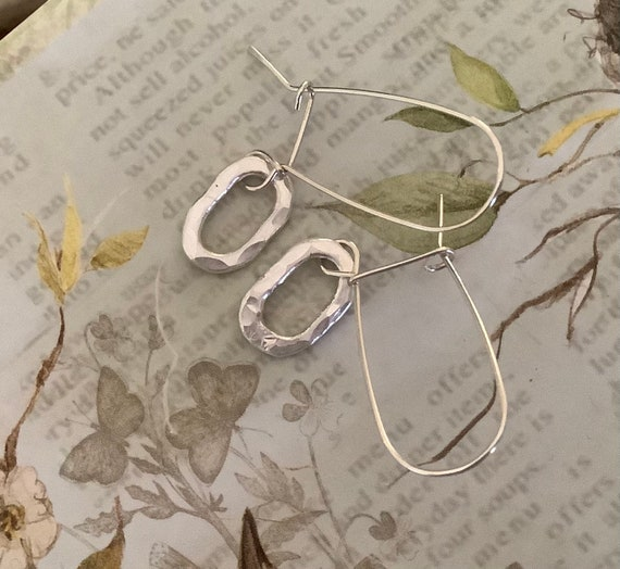 Silver circle earrings, silver drop earring, open circle, hoop, chunky round earrings, fine silver, simple dangle, dmalia