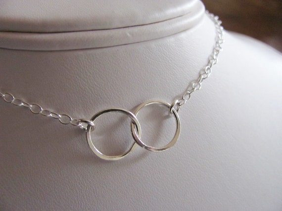 Two Circles, Best Friends, Sisters,  Fine Silver .999 Linked Rings, Love,  Unity,minimalist jewelry