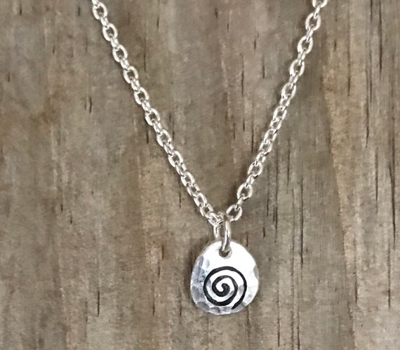 """Tiny swirl necklace, silver disc stamped circle small disc,  recycled fine silver 16"""" sterling silver filled chain"""