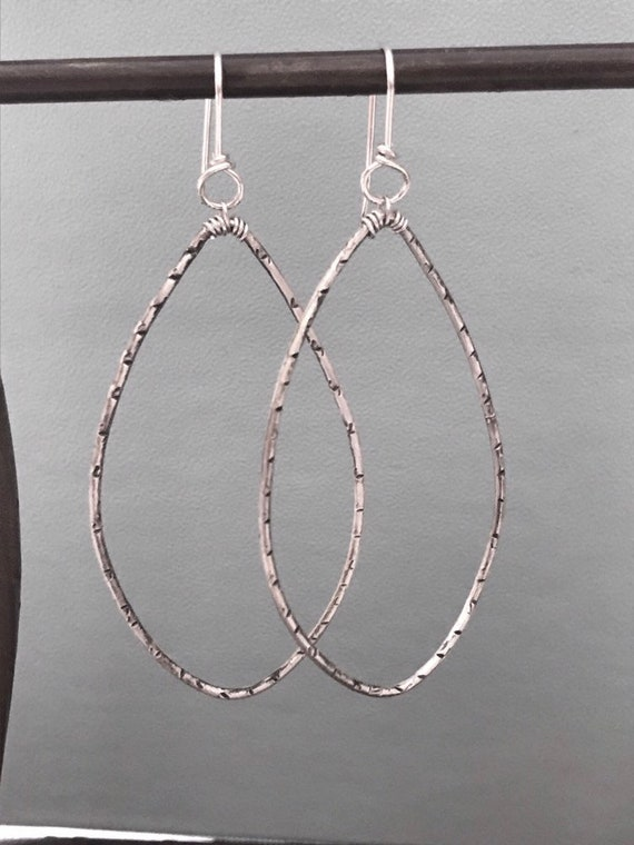 Sterling Silver Big Hoops- antiqued elongated style hammered texture, marquis earring, minimalist jewelry, Simple everyday boho dmalia