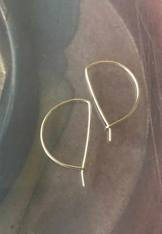 Sterling Silver filled hoop earrings   Half moon style sleeper earring  simple minimalist circle starter medium size