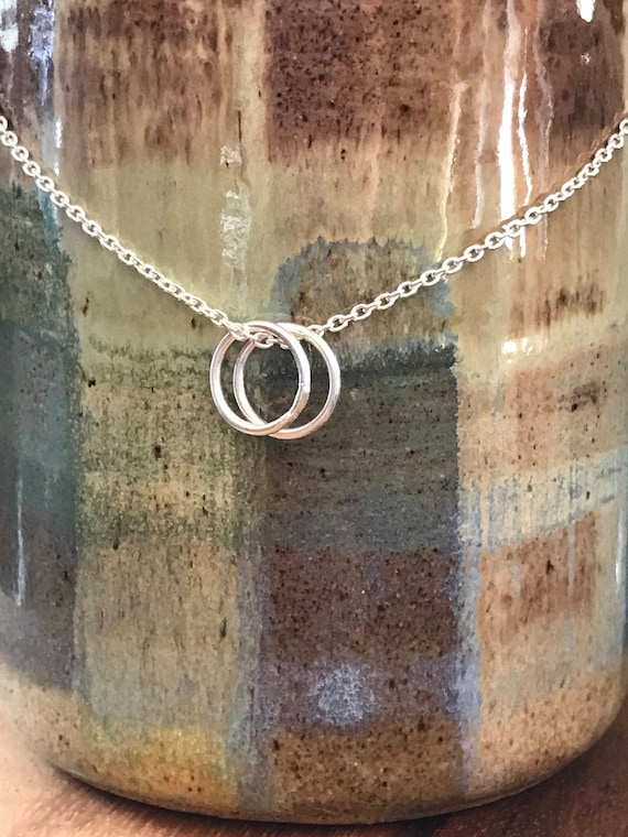 Silver circle necklace - choose One, Two, Three rings - Three sisters, two friends, Children - mother necklace - dmaliadesigns