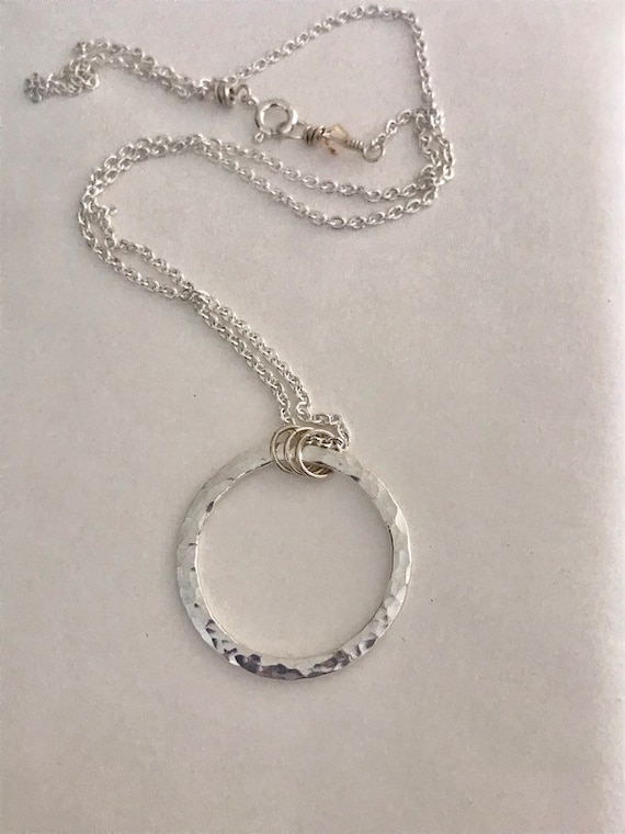 Circle Necklace, Large, 12 gauge, Fine Silver, .999, Eternity Circle, round unity circle hammered ring