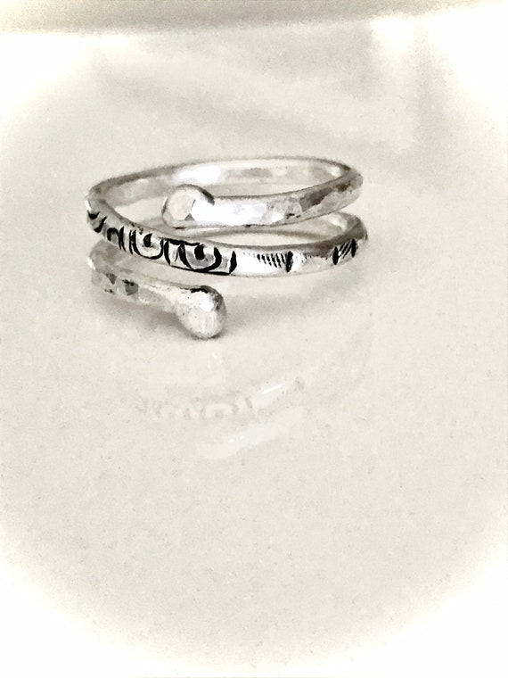 Silver Band Ring, stackable, fused, hammered,  Zen, organic,  14 gauge heavy wire, fine silver, .999