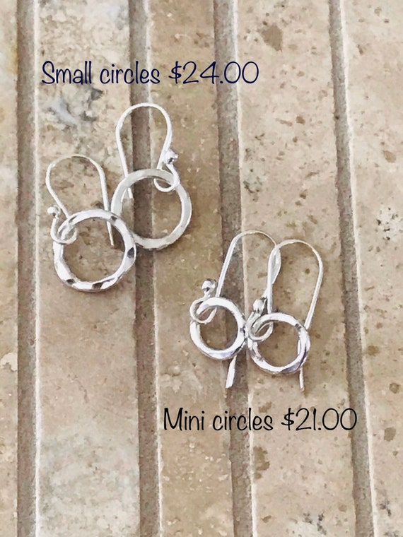 Silver Small Earrings,  mini or small circle earrings, fine silver, 99% silver,  round,hammered, circle, everyday pierced ear wear